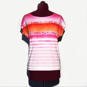 Ralph Lauren pink and orange ombré striped top
